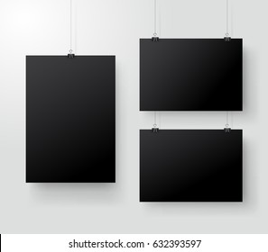 Black poster hanging on binder. Grey wall with mock up empty paper blank. Layout mockup. Vertical and horizontal template sheet. Vector illustration