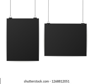 Black posters hanging on binder. Grey wall with mock up empty paper blank. Vector stock illustration.