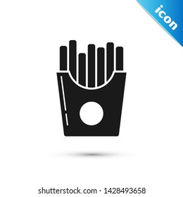 Black Potatoes french fries in carton package box icon isolated on white background. Fast food menu.  Vector Illustration