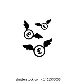 Black pound sterling coins with white wings. Flat  white background. Flying money. Economy, finance, money pictogram. Wealth symbol.  Vector illustration. Free, easy.  Spend, expenses