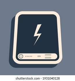 Black Power bank icon isolated on grey background. Portable charging device. Long shadow style. Vector Illustration
