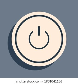 Black Power button icon isolated on grey background. Start sign. Long shadow style. Vector Illustration
