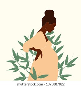 Black pregnant woman with nature and leaves background. Concept vector illustration in minimal style. EPS 10.