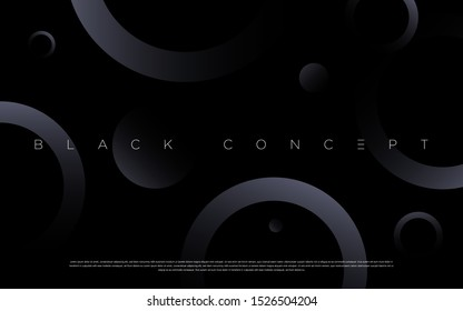 Black premium abstract background with luxury gradient geometric elements. Rich background for exclusive design. - Vector