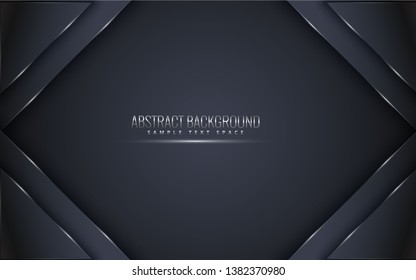 Black premium background with luxury dark.  luxury silver platinum lines vector. Rich background for poster premium triangles design - Vector