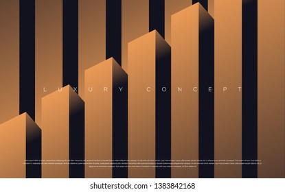 Black premium background with luxury dark gold bullion pattern and golden lines. Rich background for poster premium design. - Vector