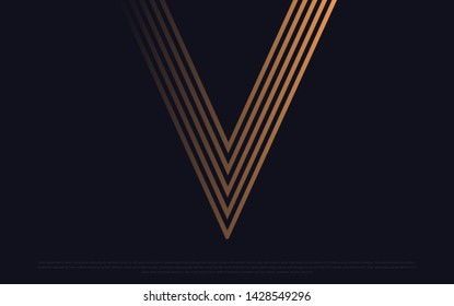 Black premium background with luxury dark V letters and golden lines. Rich background for poster premium design. - Vector