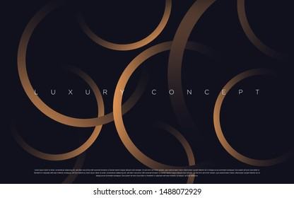 Black premium background with luxury dark gold circles and golden lines. Rich vector background for your exclusive design.