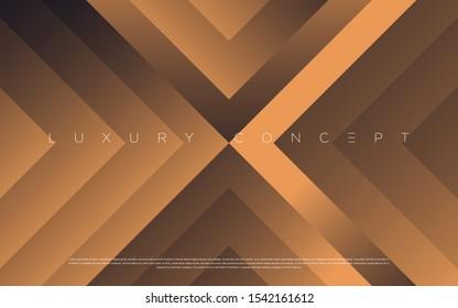 Black premium background with luxury dark golden geometric elements. Rich background for poster, banner, flyer, presentation, web design etc. Vector EPS