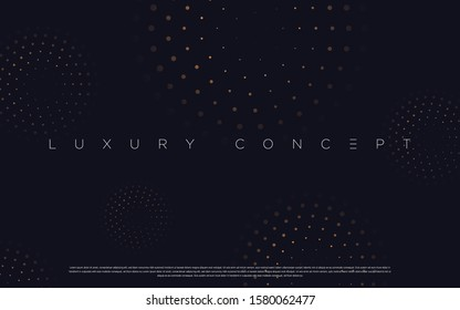 Black premium background with luxury dark golden geometric elements. Rich background for poster, banner, flyer, presentation, web design etc. Vector EPS