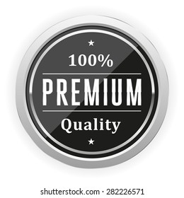 Black premium quality badge with silver border on white background