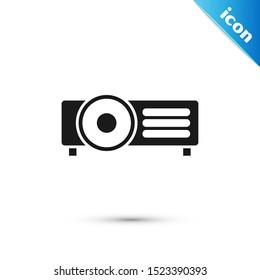 Black Presentation, movie, film, media projector icon isolated on white background.  Vector Illustration