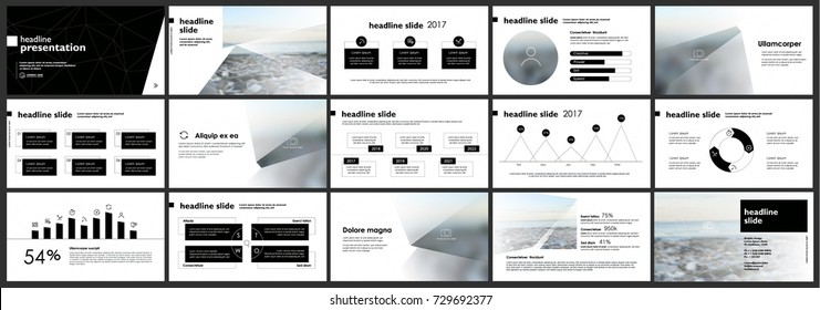 Black Presentation templates elements on a white background. Vector infographics. Use in Presentation, flyer and leaflet, corporate report, marketing, advertising, annual report, banner.