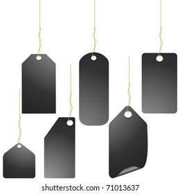 Black price tag set isolated on white vector