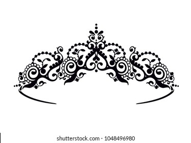 Black princess diadem on a wight background. The crown. Vector illustration.