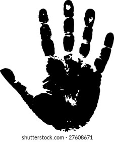 Black print of a palm on a white background