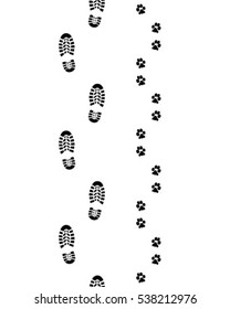 Black prints of human feet and dog paws,seamless wallpaper