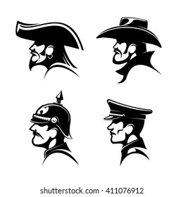 Black profiles of brutal cowboy in leather hat, bearded pirate with earring and captain hat, brave general of prussian army in spiked helmet and german soldier in peaked cap.