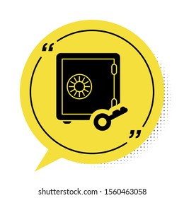 Black Proof of stake icon isolated on white background. Cryptocurrency economy and finance collection. Yellow speech bubble symbol. Vector Illustration