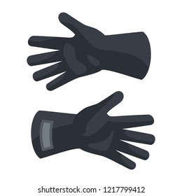 Black protect gloves icon. Flat illustration of black protect gloves vector icon for web design
