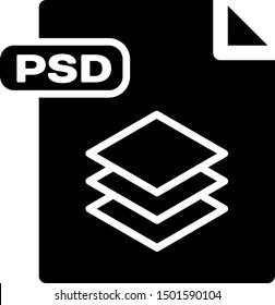 Black PSD file document. Download psd button icon isolated on white background. PSD file symbol.  Vector Illustration
