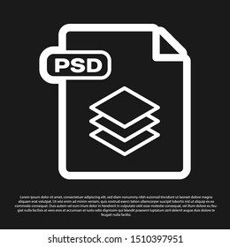 Black PSD file document. Download psd button icon isolated on black background. PSD file symbol.  Vector Illustration