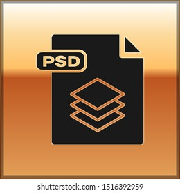 Black PSD file document. Download psd button icon isolated on gold background. PSD file symbol.  Vector Illustration