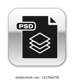 Black PSD file document. Download psd button icon isolated on white background. PSD file symbol. Silver square button. Vector Illustration