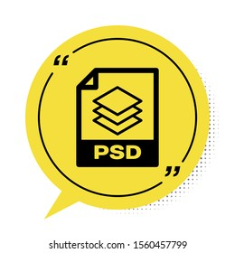 Black PSD file document. Download psd button icon isolated on white background. PSD file symbol. Yellow speech bubble symbol. Vector Illustration