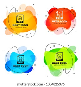 Black PSD file document icon. Download psd button icon isolated. PSD file symbol. Set of liquid color abstract geometric shapes. Vector Illustration