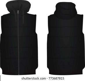 Black puffer with cap. vector illustration