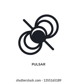 black pulsar isolated vector icon. simple element illustration from astronomy concept vector icons. pulsar editable black logo symbol design on white background. can be use for web and mobile
