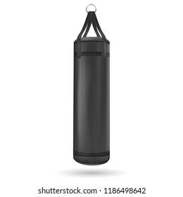 Black punching bag. Vector illustration