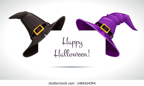 Black and purple witch hat on the paper corner. Halloween decor. Vector illustration.