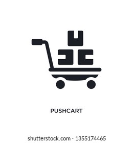 black pushcart isolated vector icon. simple element illustration from industry concept vector icons. pushcart editable logo symbol design on white background. can be use for web and mobile