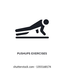 black pushups exercises isolated vector icon. simple element illustration from gym and fitness concept vector icons. pushups exercises editable logo symbol design on white background. can be use for
