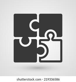 Black puzzle icon. Symbol about solution concept.