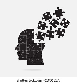 Black Puzzle Piece Silhouette Head in a Grey Square - Vector Illustration.  Jigsaw Puzzle Blank Template. Brain, Knowledge, Study and self-education Vector Object.