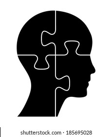 Black puzzle shaped head, business concept vector design.