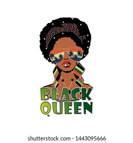 Black queen illustrated t shirt design