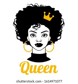 Black Queen. Black woman. Afro American girl. Curly hair, golden earrings and crown. Fashion Illustration on white background