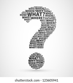 Black Question mark from Question words, search for answer vector illustration, confusion concept or ask symbol for communication design