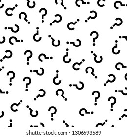 black question marks random pattern vector background isolated on white
