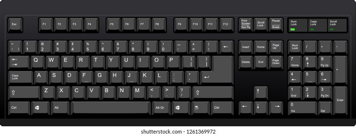 Black qwerty keyboard with american english layout. Vector illustration with all elements grouped and sorted in layers for easy editing.