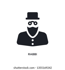 black rabbi isolated vector icon. simple element illustration from religion concept vector icons. rabbi editable logo symbol design on white background. can be use for web and mobile