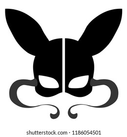Black rabbit mask on white background. Bdsm outfit.