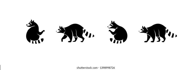 Black raccoon logo icon designs.  Vector illustration silhouettes.