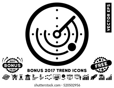 Black Radar pictograph with bonus 2017 trend icon set. Vector illustration style is flat iconic symbols, white background.