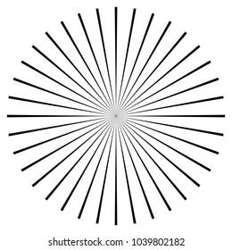 Black radial, radiating lines element on white