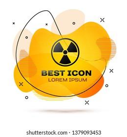 Black Radioactive icon isolated on white background. Radioactive toxic symbol. Radiation Hazard sign. Fluid color banner. Vector Illustration